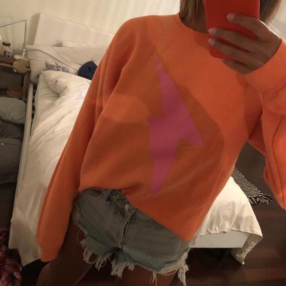 Sweaters - Neon orange lightning bolt crew neck